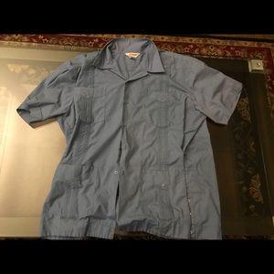 Supreme Men's Vintage Cuban Blue Guayabera Shirt2x